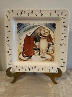 Musical Cats Ceramic Plate Made In Italy Square Cats Playing Piano And Violin