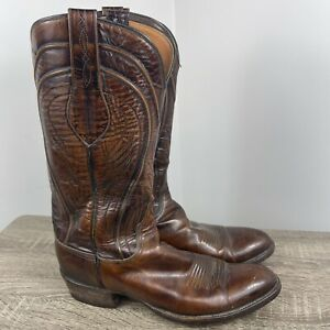 VTG Seville Goat Skin Leather Lucchese Mens Boots Sz 9.5A Hand Made Ox Blood
