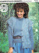 "Knitting Pattern Sirdar DK/Brushed Tweed Ladies Waistcoat & Sweater 32-44"" 6584"