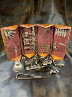 Vintage Antique Singer Sewing Machine Oak Puzzle Box With Attachments b755