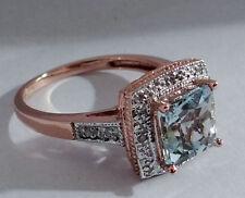 R102 - Genuine 9ct Rose Gold NATURAL Aquamarine & Diamond ENGAGEMENT Ring size O