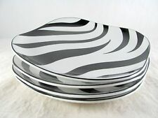 "4 Sango Kenya Black Dinner Plates, 10-3/4"", Quadrille, square, zebra stripes"
