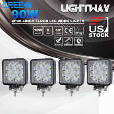 "4X 4"" Inch 90W CREE LED Work Light Bar Square Pod UTV Truck Tractor Offroad Boat"