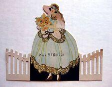 Vintage Bridge Tally Place Card Woman in Big Dress Die Cut Whie Picket Fence