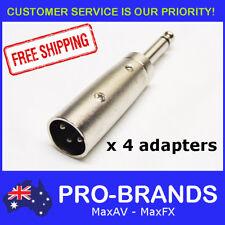 "4pcs Male XLR Plug to Mono 1/4"" Jack Audio Audio Adapter Lead Connector 6.35mm"