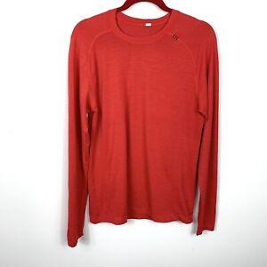 Lululemon Men's Metal Vent Tech Medium Long Sleeve Shirt Red Active Gym Running