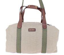 NEW $1300 DOLCE & GABBANA Beige Duffle Bag Linen Leather Travel Gym Shoulder