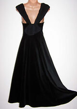 Laura Ashley vintage black velvet rear bow folded crepe collar party dress 10UK