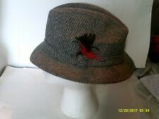 VINTAGE STETSON MENS TWEED HAT WITH FEATHER SIZE MEDIUM
