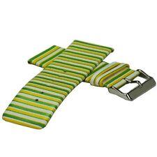 Lederuhrarmband - Sommerfarben gelb/grün - 30 mm Ersatzband für Damenuhr