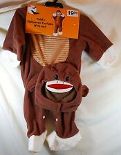 Child's Sock Monkey  Costume with Hat - Brown/White -Infant Size