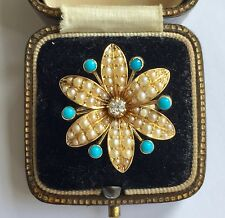 Turquoise Flower Cluster Ring Circa 1800's A Beautiful Georgian Diamond, Pearl &