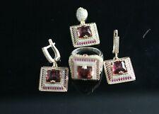 Turkish Handmade Sterling Silver 925 Ruby Set Ring Earring 6 7 8 9