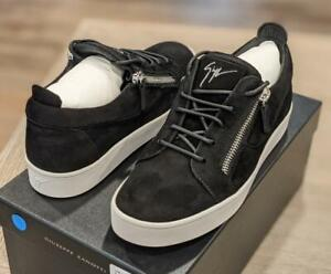 $695 Mens Giuseppe Zanotti Double Zip Suede Low-Top Sneakers Black 43 US 10
