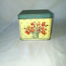 """Tin Container Flower Basic Print Blue Yellow Red 4."""" x 4."""""""