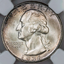 1936-S Washington Quarter - NGC MS 65