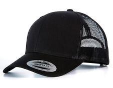 NEW FLEXFIT MESH SNAPBACK CAP BLACK PLAIN BASEBALL TRUCKER GOLF ERA PEAK HAT