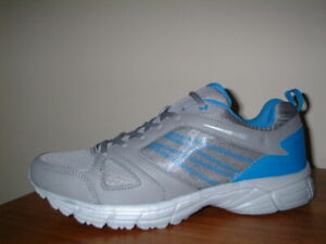 MENS ULTRA LIGHTWEIGHT GREY/BLUE TEXTILE LACE UP TRAINERS SIZE 10/44