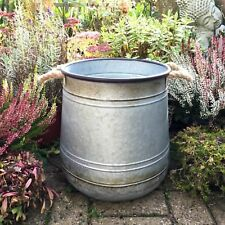Extra Large Vintage Style Metal Garden Planter Flower Pot Tub Round Rustic NEW