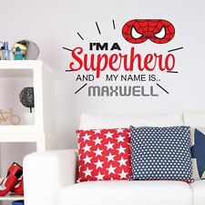 PERSONALISED SUPERHERO SPIDERMAN CHILDRENS KIDS BEDROOM WALL STICKER VINYL MURAL