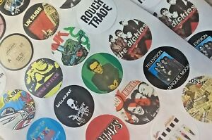 Set 3 -  24 x PUNK STICKERS Stiff, Cramps, UK Subs, Siouxsie, 999, + many more!