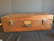 Antique Dovetailed Wooden Chest Travel Trunk Papered Interior with Eagles