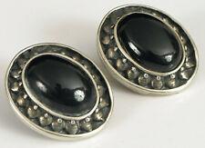 Earrings Mexico Ho Onyx Oval Shape Vintage Sterling Silver Clip On Fine Fashion
