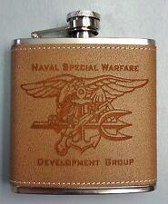 Naval Special Warfare Dev Grp Seal Team 6 STVI Trident Leather 6oz Flask DevGru