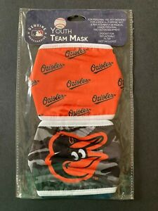 Baltimore Orioles YOUTH SIZE Licensed 2 Pack Face Mask Covering - 50% Off SRP!