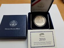 2010 AMERICAN VETERANS DISABLED FOR LIFE PROOF SILVER DOLLAR WITH COA
