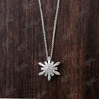 0.30 Ct Round & Baguette Diamond Snowflake Pendant Necklace 14k White Gold Over