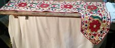 Vtg Hamd Embroidered Mantle Scarf table Runner Red Flowers Green Yellow Birds