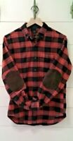 J CREW Mens Plaid Shirt (Black / Red/ Cream) w/ Suede elbow patches Size Small