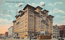 Columbus Ohio c1910 Postcard Chittenden Hotel Cars Streetcar