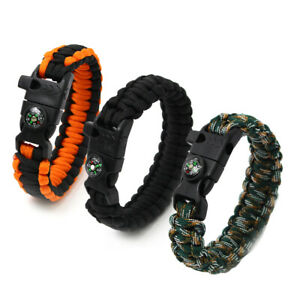 Bracelet Wristband Pack of 2 Paracord with Fire Starter Compass Whistle, Unisex
