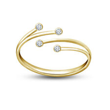 Adjustable Diamond Women's Fancy Toe Ring 14k Yellow Gold Fn Two-Stone Promise