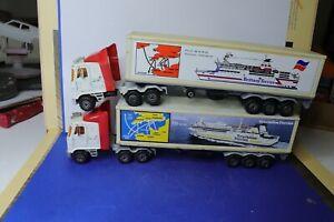 MAJORETTE ancienne 1/60 2x camion semi-remorque Britanny Ferries manque 2 portes