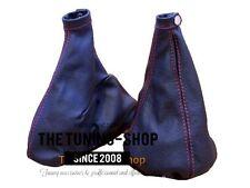 Per ALFA ROMEO GT 2003-2010 Gear & Freno A Mano Ghetta in Pelle nera cuciture rosse