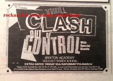 CLASH UK TIMELINE Advert - 6 nights in Brixton March 1984 2x3 inches - Punk