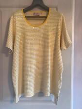 NWOT QUACKER FACTORY White Yellow Striped Sequins Knit Cotton Blend Top SZ 2XL