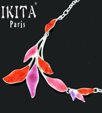 Luxus Statement Halskette IKITA Paris Kette Emaille Paillette Blatt Chocker