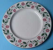 1986 Royal Doulton HOLLY PATTERN Cake Plate GOLD TRIM Holiday - Christmas