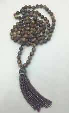 Fashion gemstone long knot leopard skin Necklace crystal tassel woman jewelry