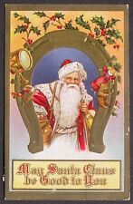 Santa in RED Under Gold Horseshoe Toys Drum Horse Doll Horn Christmas pc 1910