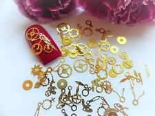 50 x Nail Art Gold Steam Punk Clock Watch Cog Parts Mix Small Thin Metal Spangle