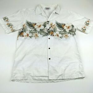 Pacific Legend White Mens Large Aloha Hawaiian Shirt Hibiscus Leaves Floral Camp