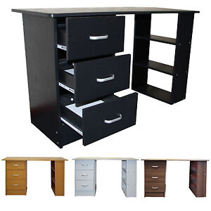 Computer Desk 3 Drawer Black White Beech Dark Walnut PC Dressing Table Redstone