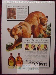 RARE Esquire Advertisement AD CINNAMON BEAR CALVERT Special Reserve Whiskey 1941