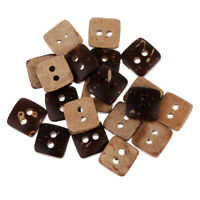 20pcs Square Brown Wood Wooden Sewing Button 2 Holes For Hand Crafts 10mm