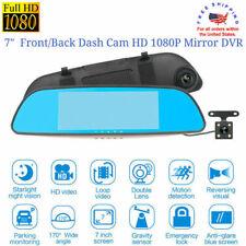 "7"" Dash Camera Dual Lens Front/Rear Full HD 1080P Mirror Monitor Car Vehicle DVR"